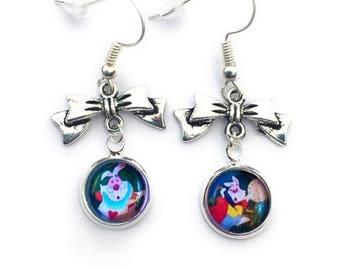 Disney Alice In Wonderland White Rabbit Bow Charm Dangle Earrings.