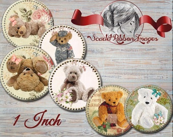 Teddy Bear Vintage- 1 inch circles - Shabby Chic Military bear  - digital collage sheet - bottle cap tags, scrapbooking, cupcake toppers