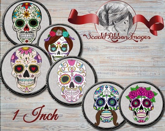 Sugar Skulls - 1 inch circles - Day of the Dead digital collage sheet - bottle cap images, buttons, tags, scrapbooking, cupcake toppers