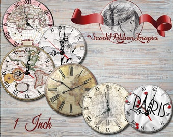 Map and Landmark Clock Faces for bottle cap images of 1 inch round circles