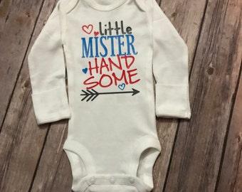 Little Mister Handsome Shirt or Bodysuit, Boy Valentine Shirt, Heart Breaker Shirt, Little Mister, Mister Handsome Valentine Shirt