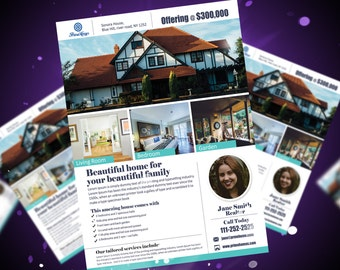 Real Estate advertising Flyer Template -Editable in Microsoft Word, Powerpoint and Photoshop  - INSTANT DOWNLOAD - KOR-018A