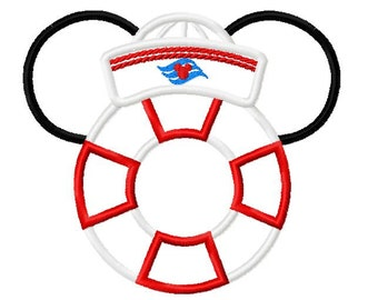 Character Inspired Sailor Cap Hat Cruise Life Preserver Embroidery Applique Design