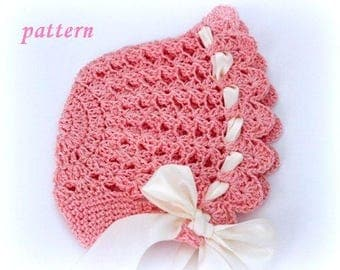 Newborn girl hat, Pattern crochet cotton bonnet, Easy baby hat, knitted baby clothes