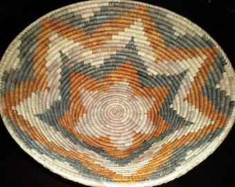 "Original Native American XLG 18"" Handwoven Round Bowl Basket"