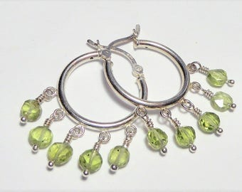 SALE Peridot Hoop Chandelier Earrings