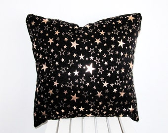STAR Pillow,Gold Star Pillow, Black and Gold Pillow Case, Pattern Pillow,Space Pillow,Throw Pillow Cover, Toss Pillow , Throw Cushion