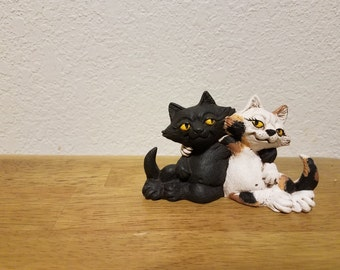 Ceramic Cats (2) with attitude - Calico and Black (#881) - Best buds