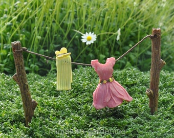 Out to Dry Clothesline for Miniature Garden, Fairy Garden