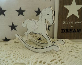 Vintage Rocking Horse, Wooden Horse, Wooden Toy, Shabby Chic Home Children Room Office Table Fireplace Decor Decoration Ornament, Collection