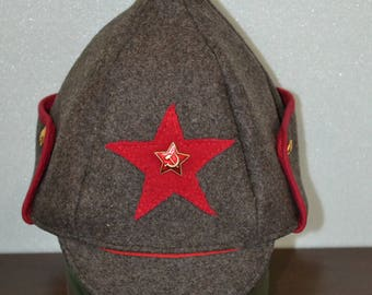 Red Army Uniform Hat Budenovka With USSR Red Star Soviet Insignia