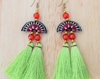 Handmade Earrings / Hmong Earrings / Fringe Earrings / Cluster Earrings / Tuft Earrings / Embroidered Earrings / Tassel Earrings