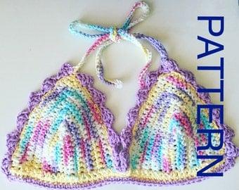 Crochet Women's Bra with wavy trim - PATTERN - PDF Document - Women's Crochet Pattern - Advanced Beginner