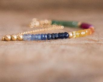 Rainbow Gemstone Bracelet, Emerald, Ruby, Sapphire Bracelet, Multi Stone Jewelry, May- July-September Birthstone, Precious Stone, Wife Gift