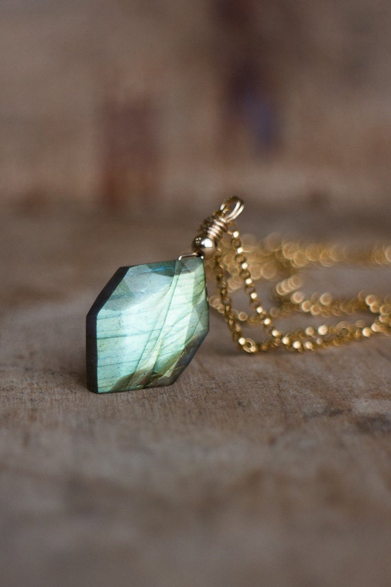 Hex Labradorite Pendant Necklace