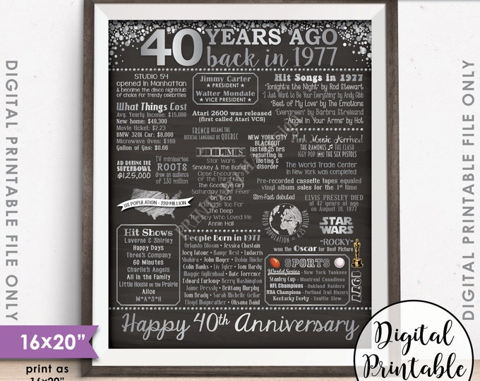 "40th Anniversary Gift 1977 Poster, 40 Years USA Flashback Instant Download 8x10/16x20"" Married in 1977 40th Chalkboard Style Printable"