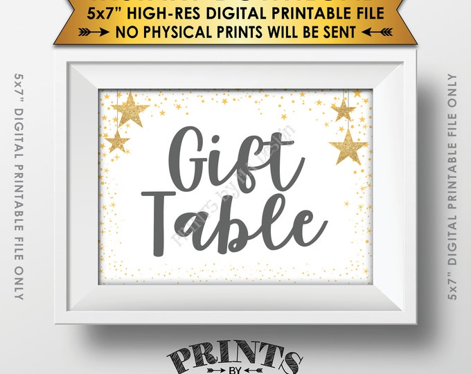 """Gift Table Baby Shower Sign, Cards & Gifts Sign Gray Text Baby Shower Decor Gold Glitter Twinkle Stars, Instant Download 5x7"""" Printable Sign"""