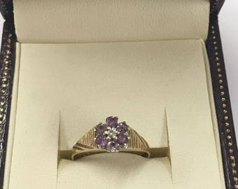 9ct Yellow Gold Amethyst and Diamond Cluster Ring Size M