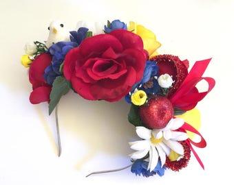 Snow White | Themed Flower Crown Headband, White, Red, Blue, Yellow, Enchanted, Disney Princess, Magic, Apple, Bird