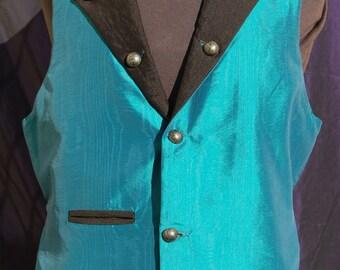 steampunk waistcoat (vest) Turquoise moire taffeta. Large size.