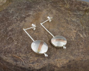 Sterling Silver And Rose Gold Wishing Pebble Earrings