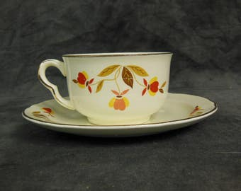 Halls China Cup and Saucer, Autumn Leaf Pattern, Approved by Jewel, Vintage