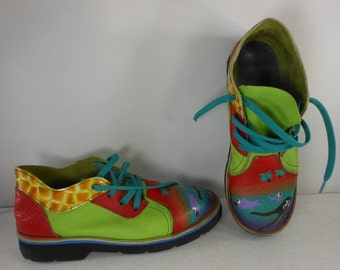"Painted Leather ""FUNKY SHOES""  of Texas Ocean Scene Fish Womens 6 1/2"