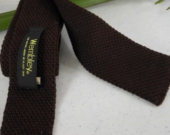 "Dark Brown Skinny Tie 2"" WEMBLEY Knit"