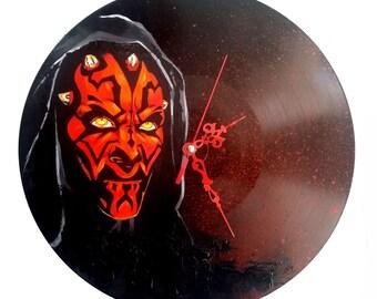 Star wars, Darth maul, hand painted vinyl record clock