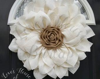 Burlap wreath, Flower wreath, Burlap flower wreath,  Spring wreath, Summer wreath, Mother's day wreath,  Year round wreath  Front door decor