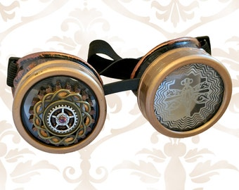 Octopunx Antiqued Copper Color Steampunk Goggles with Art Lens, Dragonfly Filigree, and Bright Copper Rims