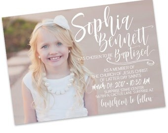 LDS Baptism Announcement- Girl- Invitation - Missionary Farewell- Baptism Invite- Handlettering Invite - typography