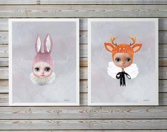 set of 2 Miss Lily, Miss Ruby by Amanda Greenwood,nordic,watercolor nursery wall art,gray,deer, bunny,muted,nursery prints,baby girl,nursery