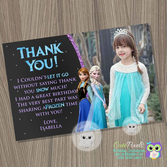 Frozen Thank You Card Disney Frozen Frozen Birthday Frozen Party