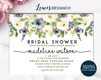 Bridal Shower Invitation, Watercolor Floral Wedding Card, White Navy Floral Shower, Editable Template Printable Card,  Instant Download DIY
