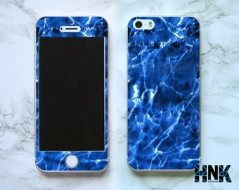 Iphone SE full skin / Iphone 5s decal / Iphone 5 decorative cover / blue marble case IS012