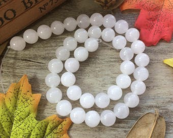 1pc 10mm White Crystal Quartz Natural Gemstone Loose Beads For Jewelry Necklace Spacer Beads Charms