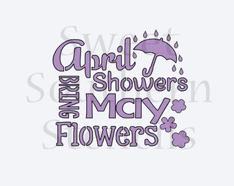 April Showers Bring May Flowers Cookie Stencil