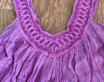 Vintage purple gauze embriodered swing vest top free sized
