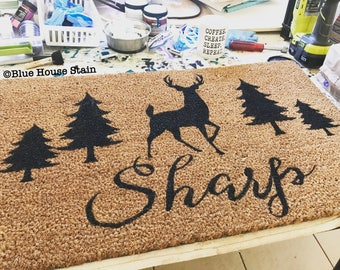 Custom Doormat, Doormat, Door mat, wedding gift, housewarming gift, customizable gift, Custom Gift, hunter