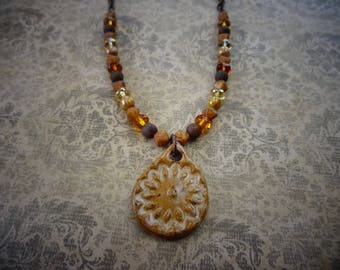 Ceramic Pendant Necklace in Sand and Brown with Czech Glass Beads