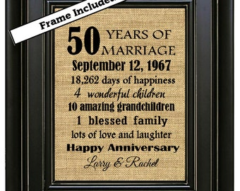 FRAMED 50th Anniversary Gift/50th Anniversary Gifts/50th Wedding Anniversary/Anniversary Gift for Couple/Anniversary Gifts for mom and dad