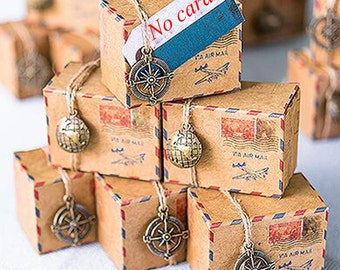 100pcs Vintage Inspired Airmail Favor Box Kit 50 Sets Compass & 50 Pieces Globe Wedding Gift Candy Boxes