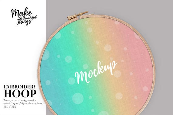 Isolated embroidery hoop mockup real photography