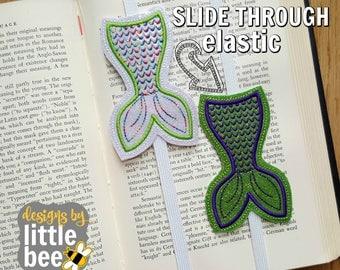 SLIDE THROUGH elastic - mermaid tail design slider book band - rainbow slide planner bookmark - machine embroidery design 04 14 2017