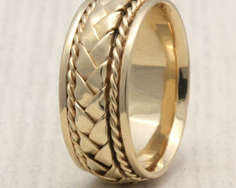 8.5mm 14K/18K Yellow Gold Hand-Woven Basket Weave High Polished, Comfort Fit, Gold Rings, Braided Rings, Hand Braided
