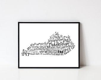 Hand lettered MIDDLETOWN Kentucky Word Art Print // 8x10