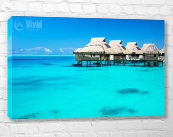 Bora Bora canvas art, azure blue art print, over the water bungalow, multi panel art for home, crystal clear water, tropical photo, relaxing