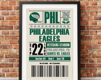 Philadelphia Eagles Retro Ticket Print
