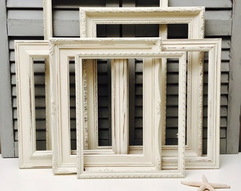 antique white large picture frames set creamy white picture frames large gallery wall frames set